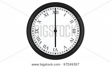 Realistic 3D clock with Roman numerals set at 6 o'clock