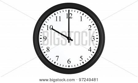Realistic 3D clock set at 10 o'clock