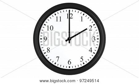 Realistic 3D clock set at 2 o'clock