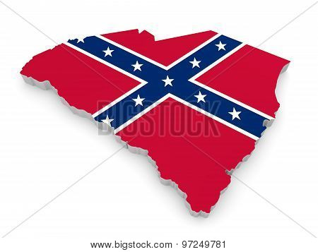 State border map of South Carolina with the rebel Confederate Flag