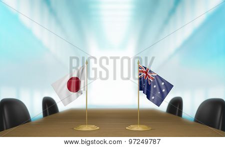 Japan and Australia relations and trade deal talks 3D rendering