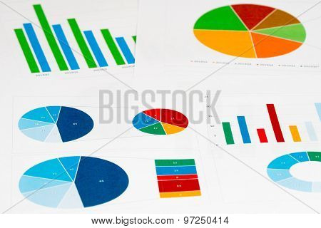 Multicolor Pie And Bar Charts Background