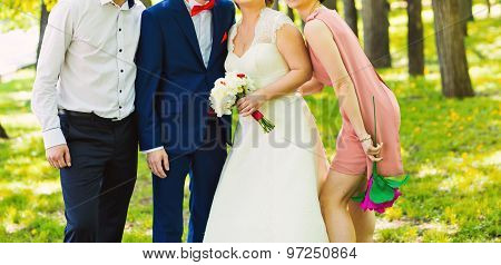 wedding couple , groomsman and  bridesmaid