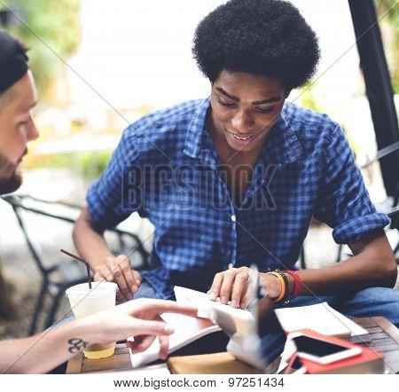 Friends Men Discussion Brainstorming Reading Concept