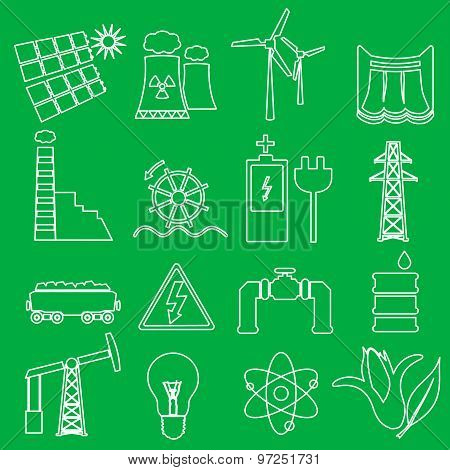 Electricity And Enegry Symbol Outline Icons Set Eps10