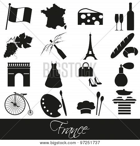 France Country Theme Symbols And Icons Set Eps10