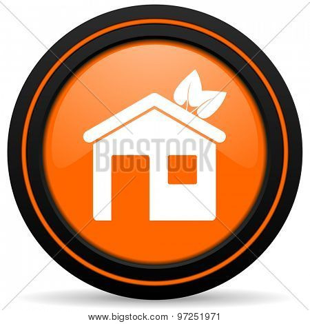 house orange icon ecological home symbol