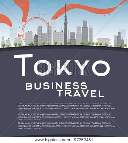 Tokyo skyline with skyscrapers, sun and copy space. Business travel concept. Vector illustration