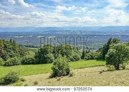 Panoramic view from the Hoher Peissenberg in Bavaria Germany