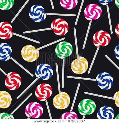Colorful Sweet Lollipops Seamless Dark Pattern Eps10