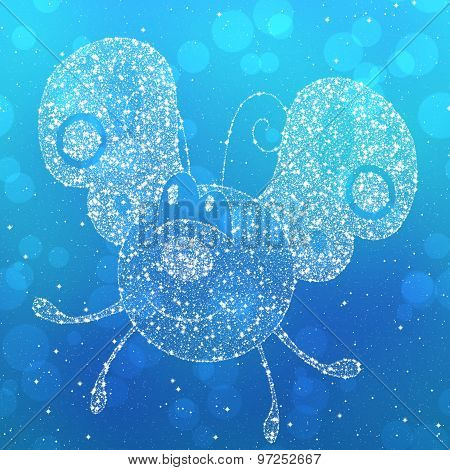 Starry Butterfly Silhouette On Blue