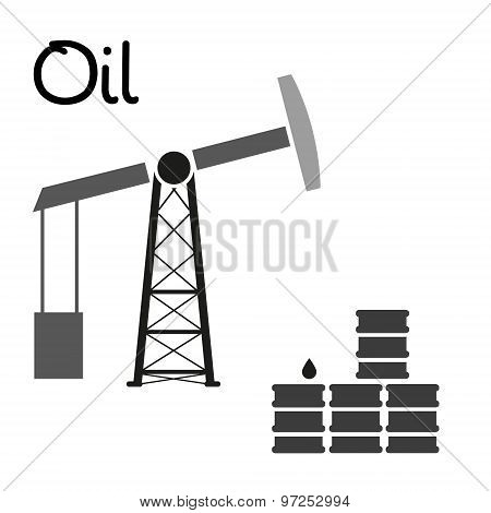 Oil Production And Oil Well And Barrels Symbol Eps10