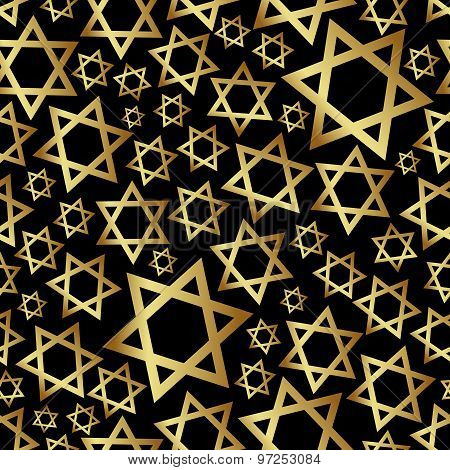 Gold Star Of David Dark Religion Seamless Pattern Eps10