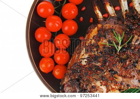 ribs on plate isolated over white background