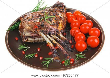 ribs portion on plate with cherry and chives