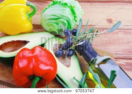 fresh raw vegetables prepared for cutting on wood
