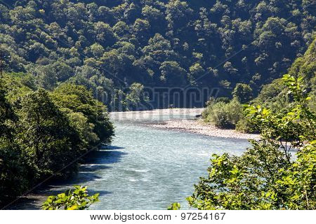 Image of mountain river hidden in green trees