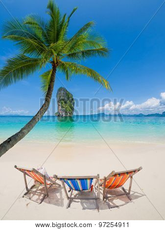Two Chairs on Poda beach in Thailand