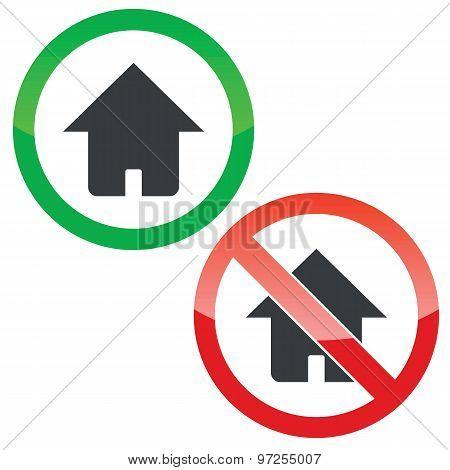 Home permission signs set