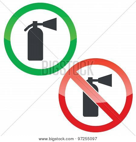 Fire extinguisher permission signs set