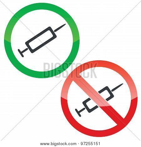 Vaccine permission signs set