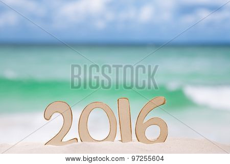 2016 numbers letters with  ocean , beach and seascape, shallow dof