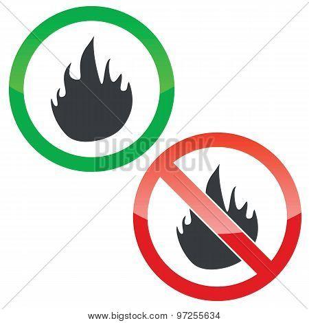 Fire permission signs set