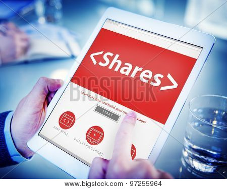 Digital Online Shares Commission Office Working Concept