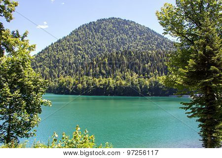Photo of mountain and lake, summer