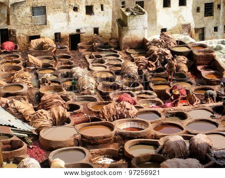 Leather tannery in Fez (Morocco)