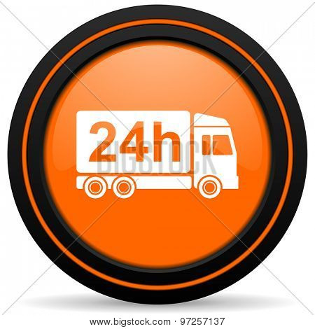 delivery orange icon 24h shipping sign