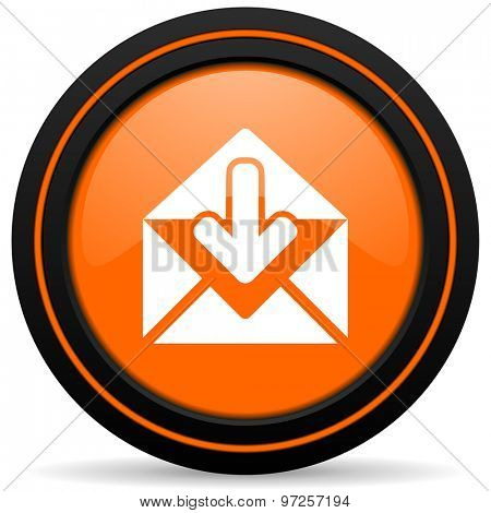 email orange icon post message sign