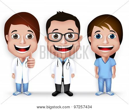 Collection Set of Realistic 3D Young Friendly Professional Doctor