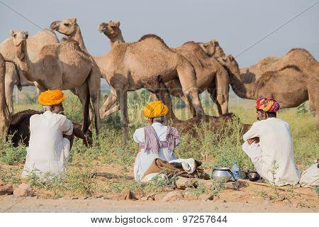 Indian Three Men Attended The Annual Pushkar Camel Mela
