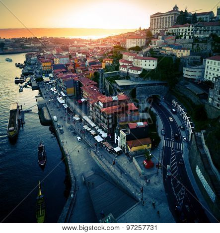 City of Porto at sunset. Portugal