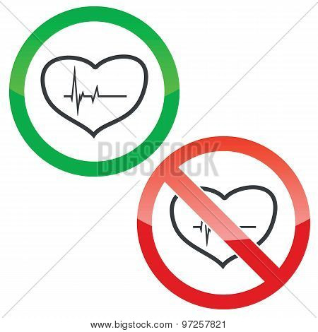 Cardiology permission signs set