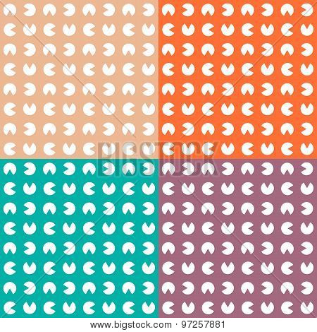 Set multicolor pattern. Seamless texture with circle.