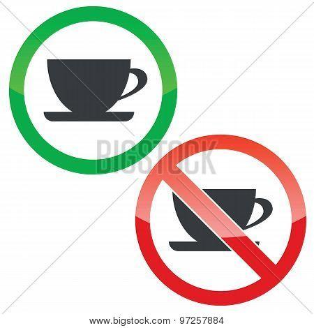Cup permission signs set