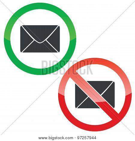 Letter permission signs set