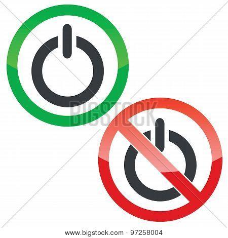 Power permission signs set