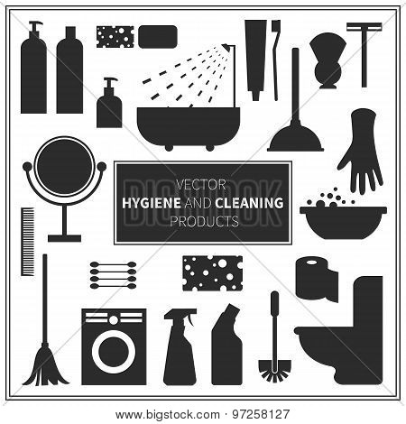 Vector hygiene and cleaning products icons.