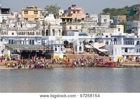 Holy Ghats At Sacred Sarovar Lake. Pushkar, India