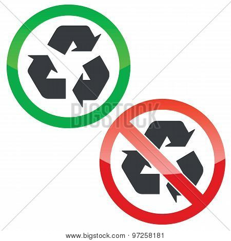 Recycle permission signs set