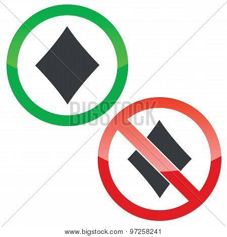 Diamonds permission signs set