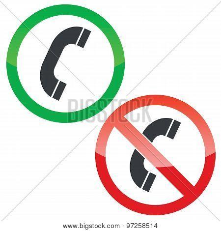Call permission signs set