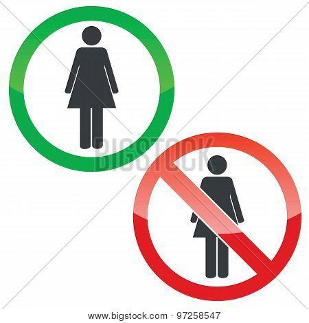 Woman permission signs set