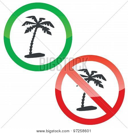 Vacation permission signs set