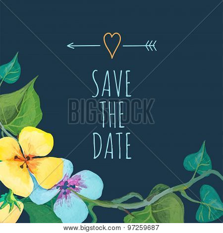Save the Date card template with romantic summer flowers and cute bird. Hand drawn design. Perfect f