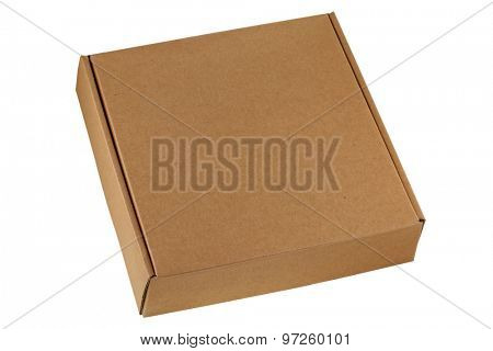 A brown pizza box, being closed, isolated on white