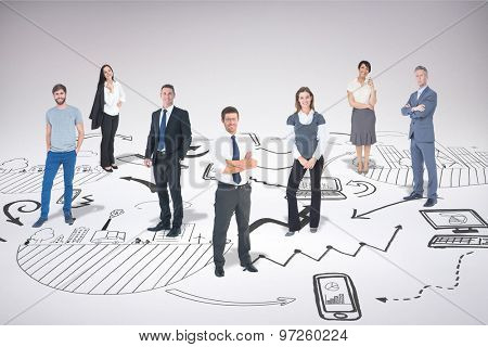 Business team against brainstorm graphic